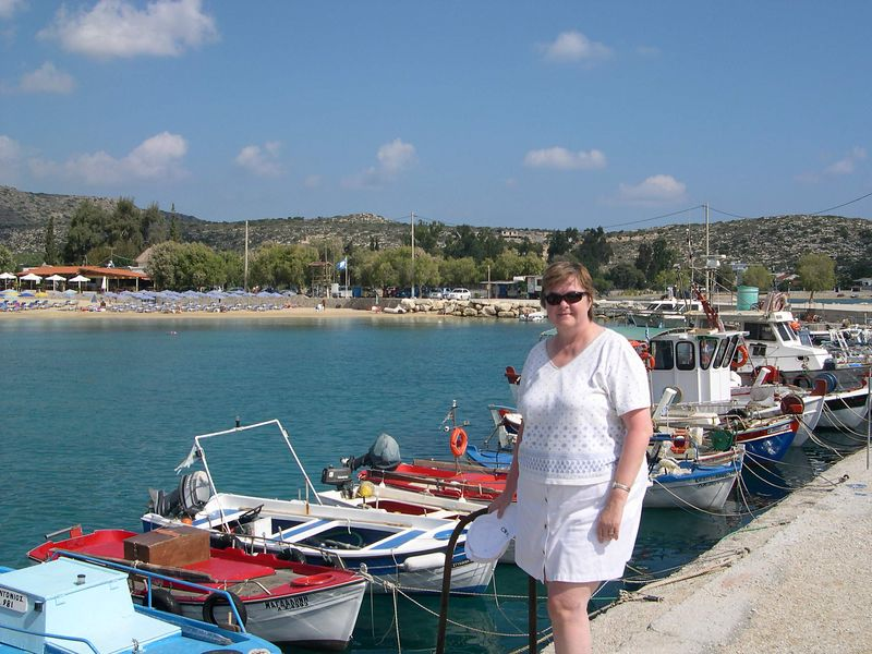 Susan at the Maleme harbor on the Akrotire penisula near Chania.  We went swimming in Souda Bay and took a long lunch at a taverna here.