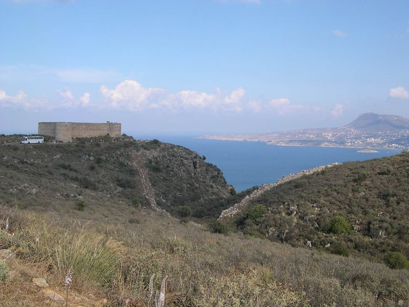 Looking out to the old Turkish fort above Souda Bay, with the fortifications for ancient Aptera in the foreground.