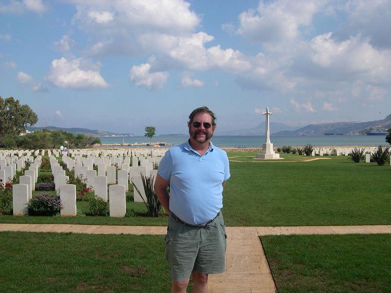 Dick at the Commonwealth War Cemetary at Souda Bay, where soldiers from the WW2 battle of Crete are buried.