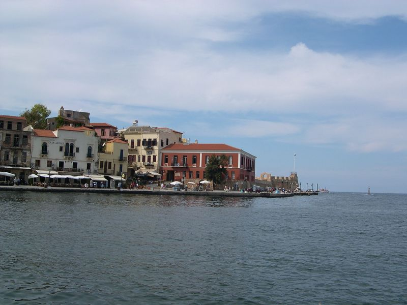 Leaving Chania harbor on a glass bottom boat for sightseeing visit to Aghii Theodori island, a nature preserve near Chania.