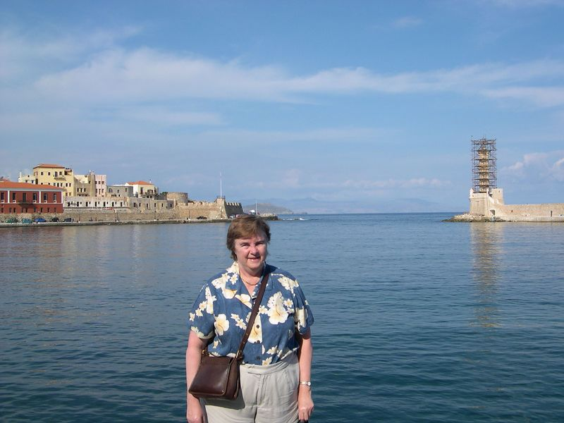 Susan at the Venetian harbor in Chania