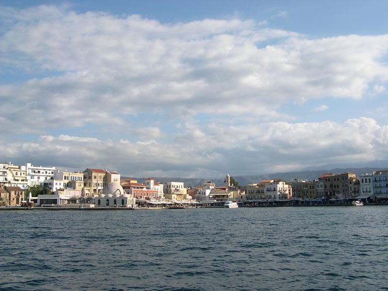 Returning to Chania harbor on the glass bottom boat.