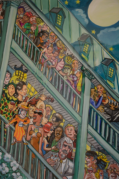 "There are several galleries of regional art worth taking in. This is a 2005 painting entitled ""Charleston Porch Party""."