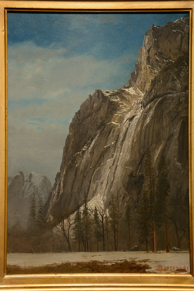 After lunch, we spent the stormy afternoon at the Gibbs Museum of Art. It has a small, but nicely curated, collection of art including this Bierstadt of Yosemite.