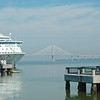 Charleston Harbor with Bridge and Cruise Ship
