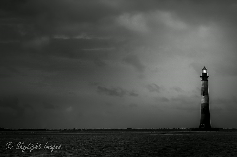 Morris Island Lighthouse <br /> converted to black and white with added light on top in post edit.