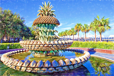The Pineapple Fountain in Waterfront Park, Charleston,SC