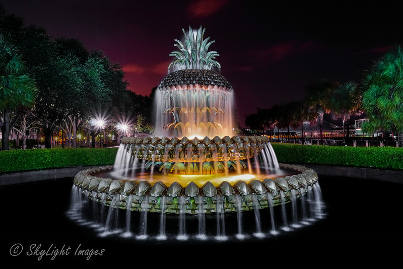 Pineapple Fountain in Waterfront Park<br /> light painted along with a 30 second exposure