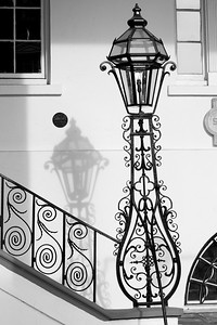 Wrought iron and shadow, South Carolina Society adjacent to St. Michaels