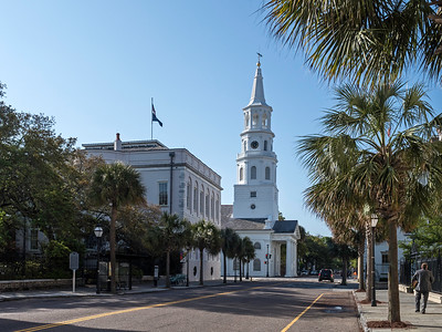 "Approaching the ""Four Corners of Law""  - St. Michael's Episcopal Church, Federal Courthouse, County Courthouse, and Charleston City Hall."
