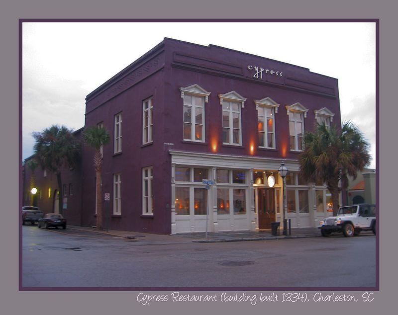 Cypress Restaurant - beautiful purple 1834 bldg at 167 E Bay [borders, text]