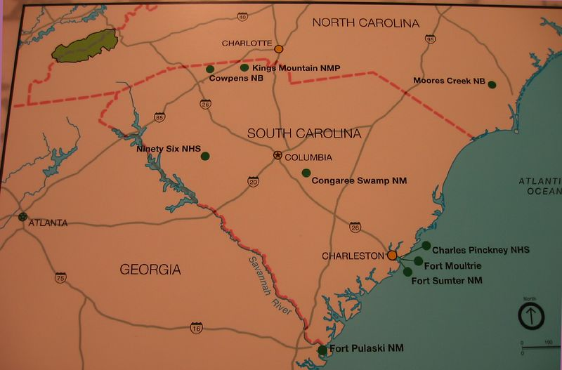 Map by National Park Service showing Charleston in context