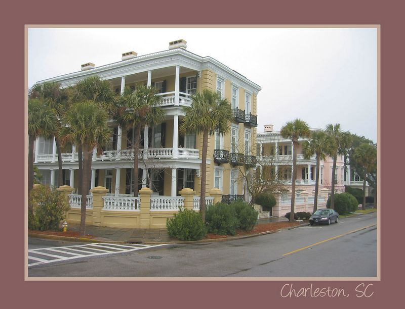 Homes at E and S Battery Streets on Charleston Harbor [borders, text]
