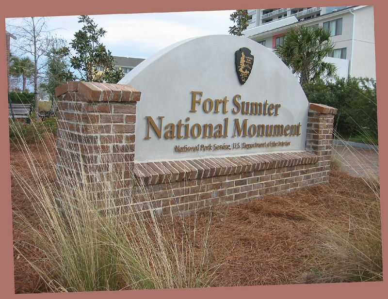 Fort Sumter National Monument sign outside visitor's center on mainland [rotation, borders]