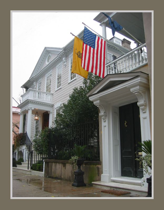 Several historic homes incl one flying 3 flags, Charleston, SC [borders]