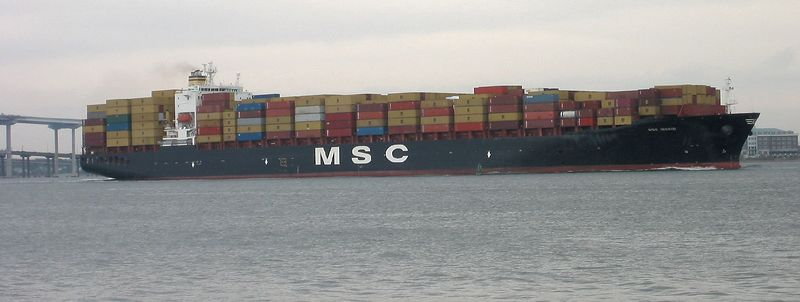 Huge container ship leaving Port of Charleston