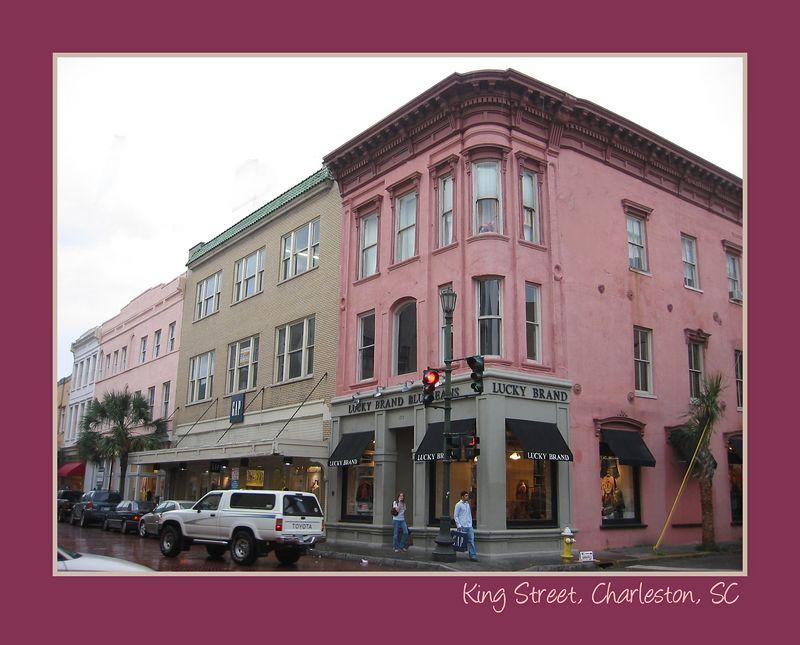 King St shopping area, Charleston [borders, text]