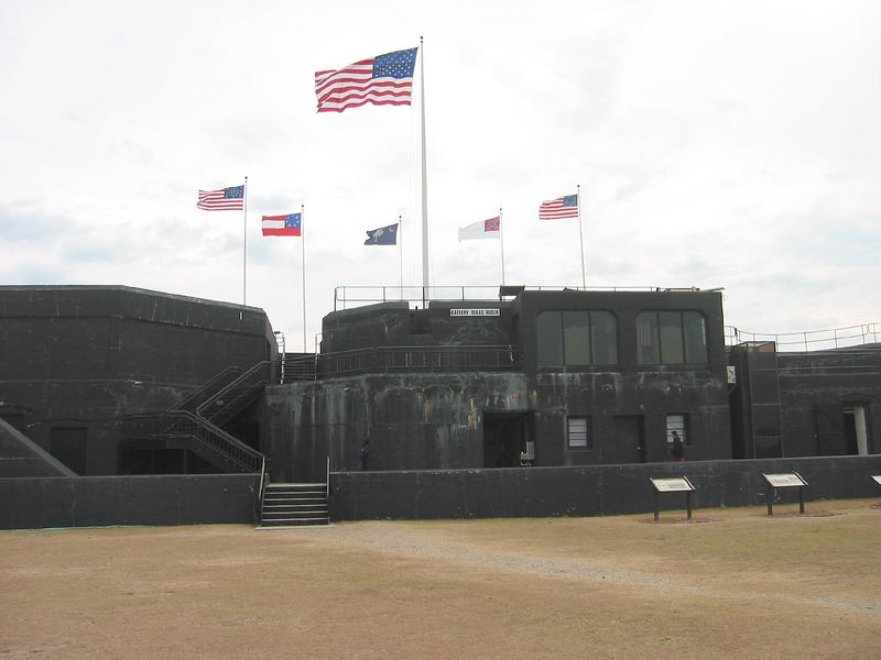 Flags flying over Fort Sumter today