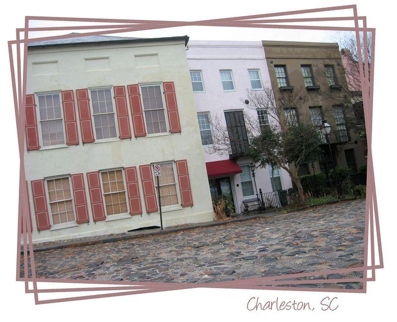 Cobblestone street & historic homes nr Waterfront Pk, Charleston, SC [rotatns, brdrs, txt]