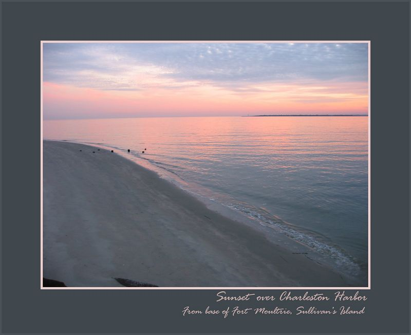 Sunset over Charleston Harbor from Fort Moultrie shore on Sullivan's Island [borders, text]