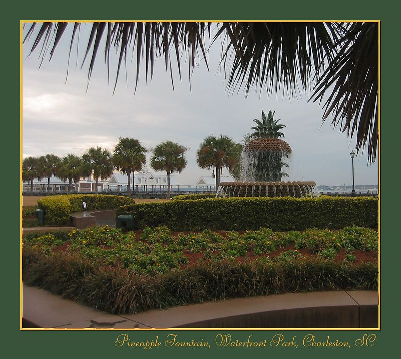 Pineapple Fountain framed by palm leaves [borders, text]