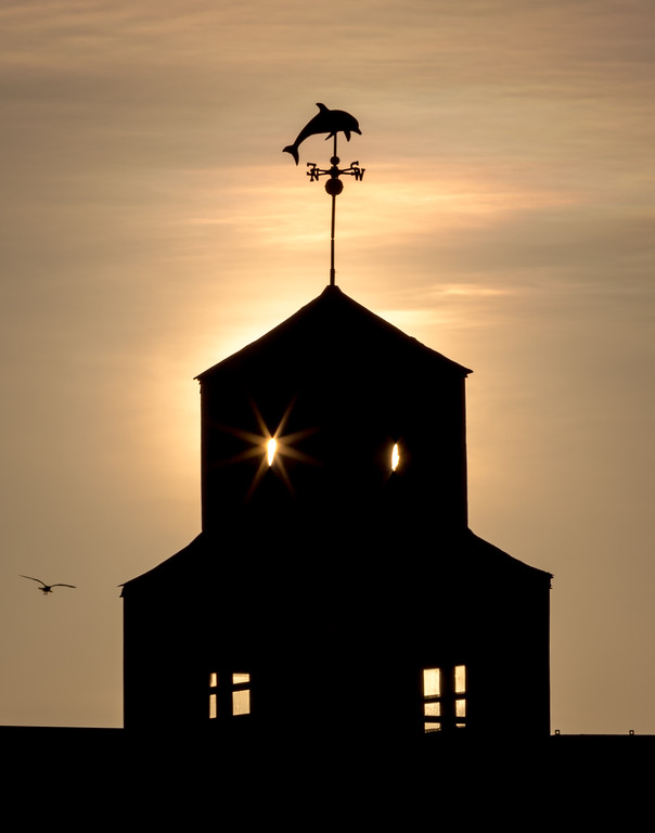 Weather vane in silhouette