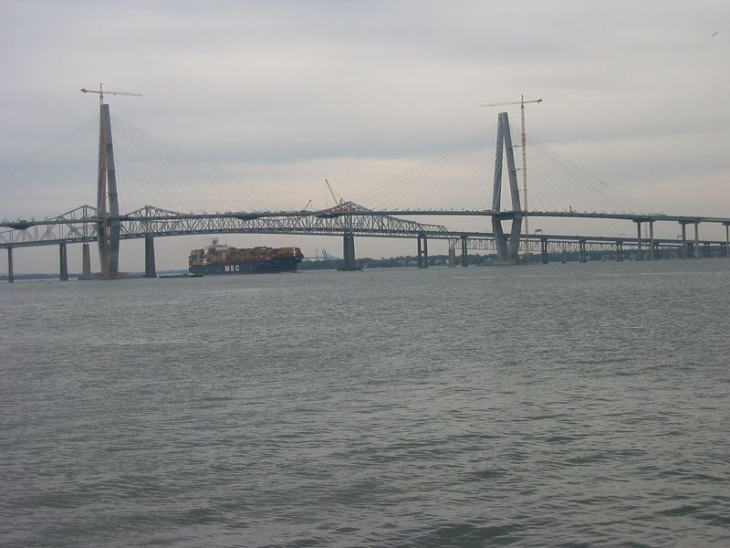 Huge container ship under Cooper River bridges