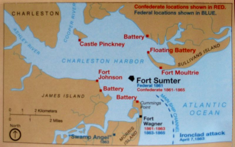 Sign - Map of Fort Sumter and surroundings, dates of occupation during civil war
