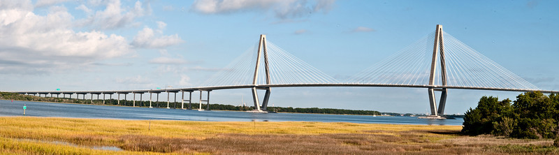 I stitched 6 vertical images to make this panorama picture of the Arthur Ravenel Jr. Bridge. This was taken from the south side of bridge