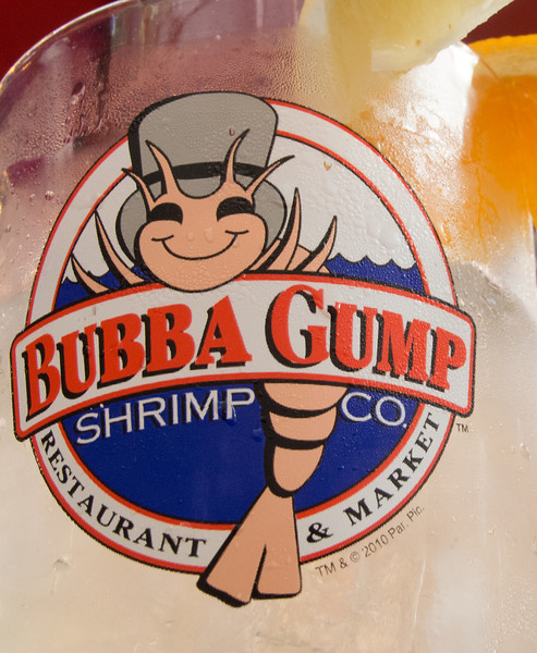 Sandy and I ate at Bubba Gump's one night. This is actually a glass that Sandy was drinking out of.