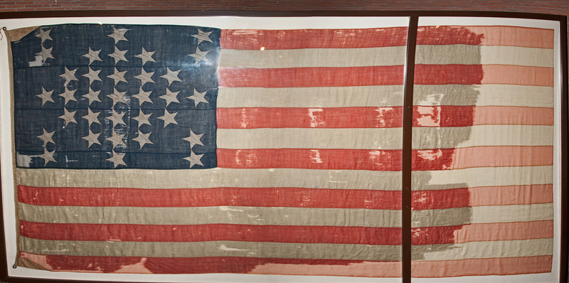 Fort Sumter - The 33-star United States Flag.  This pictured was made with 3 photos stitched together into a panorama using Photoshop.