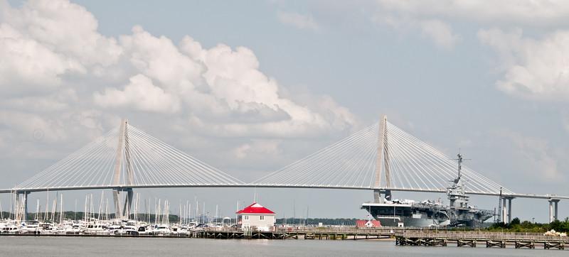 USS Yorktown Aircraft Carrier with Arthur Ravenel Jr. Bridge in the background