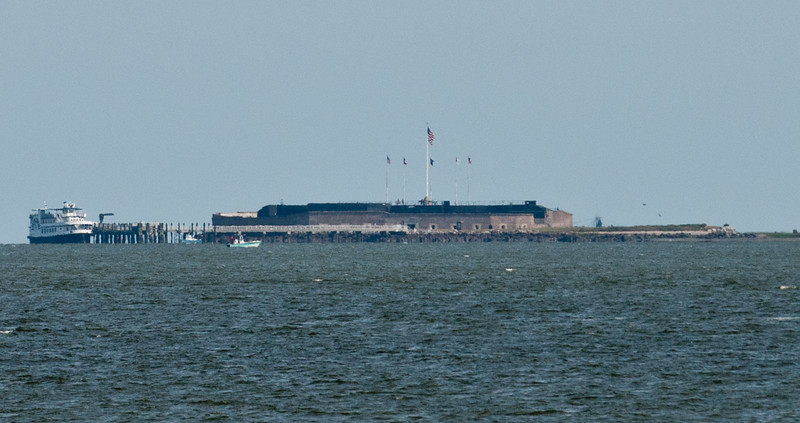 This photo of Fort Sumter National Monument was taken from end of E. Battery Street in Charleston