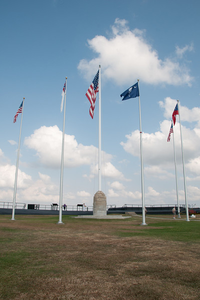 The view of various flags on top of Fort Sumter