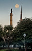 Marion Square - John C. Calhoun Statue and St Matthew's Lutheran Church.  Is that real moon?