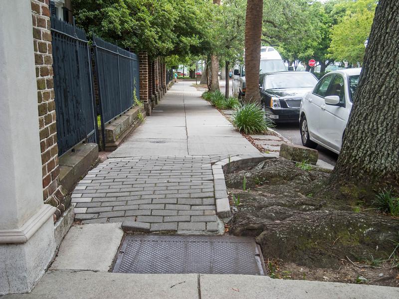 This is the sidewalk on Meeting Street.