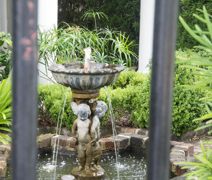 Water fountain in a courtyard.