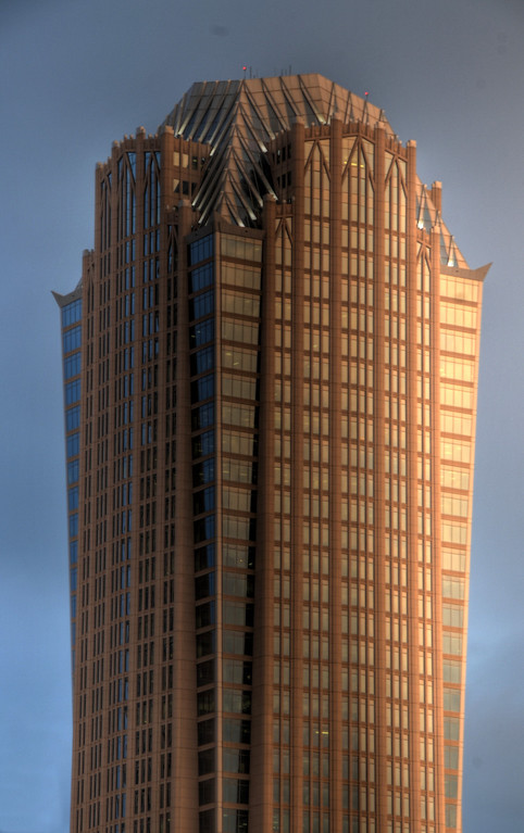 Hearst Tower at sunset, Charlotte