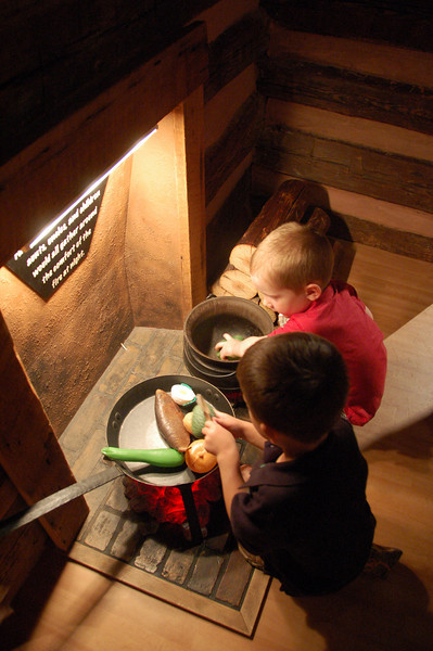 "Kids playing in the ""slave cabin."""