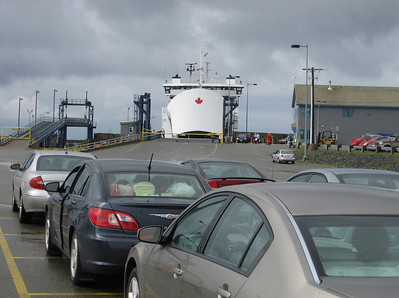Waiting inline to board car ferry to Nova Scotia