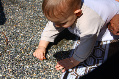 Benny playing in the gravel at our camp site.