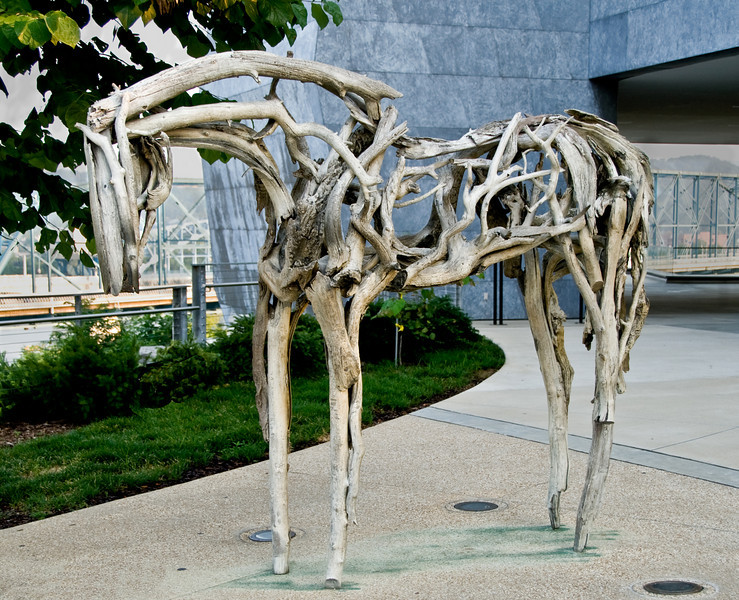 This horse sculpture appears to be made out of driftwood but it's actually all bronze.