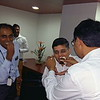 Vishal being fed his birthday cake by Saurabh.