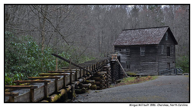 Mingus Mill, Great Smoky Mountains National Park--North Carolina  The current mill built in 1886 by Sion Early, a millwright from VA, for six hundred dollars,  actually replaced a worn out mill powered by a waterwheel, built n the 1790's by the Mingus family, who owned it until in the 1930's when the National Park acquired it.  It was a 'custom mill' catering to each customers personal preference.  Parts of this mill were replaced in 1937, again in1968, as parts that get wet then dry then wet again are subject to rot.  Notice it  has already been running beyond the 31 year span that required replacing rotted parts, possibly due to more modern pressure treated or better known as of preserving wood. The mill operates during the summer as a historical exhibit.  What you WONT see is a traditional water wheel!  This mill is powered by a turbine manufactured by the James Leffel and company which builds turbines from home size to huge hydroelectric plant sizes.  This turbine operates by water moving through its vanes, developing eleven horsepower at 400 RPM, rotating a vertical shaft that powers all the machinery in the mill, along with taking less space than a water wheel with lower maintenance and less expense.