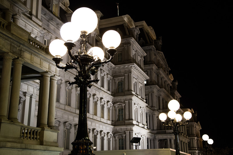 Lamp posts outside the Eisenhower Executive Office Building