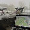 Snowy bike, hazardous roads