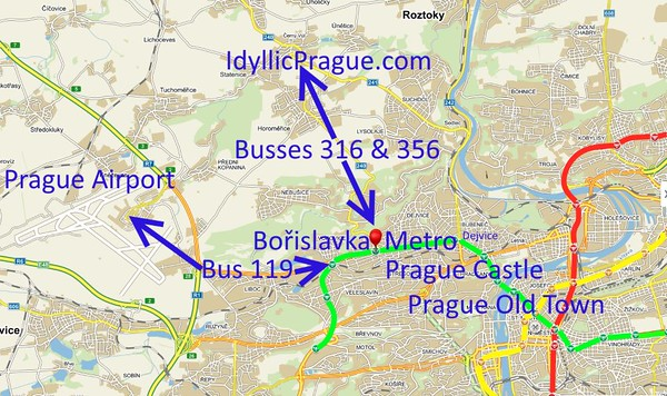 Bořislavka connects IdyllicPrague to all key historic attractions