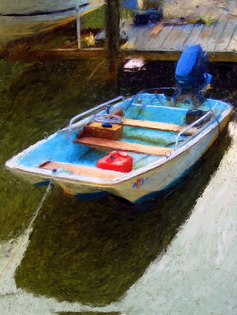 If Renoir owned a small boat on the Chesapeake, he might paint it like this. Created with Photoshop and Corel Painter X.