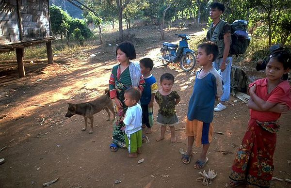 Hill tribe kids and Nop in Chiang Dao, Thailand