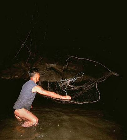 Daeng night fish with a net in Chiang Dao Thailand